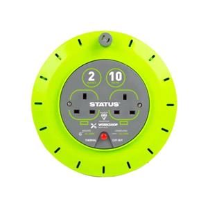 Electrical, 2 Way Cassette Cable Reel - Green - 10m,