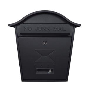 """Post Boxes, ProPlus De Vielle Traditional Wall Mounted Post Box """"No Junk Mail"""" - Black, ProPlus"""