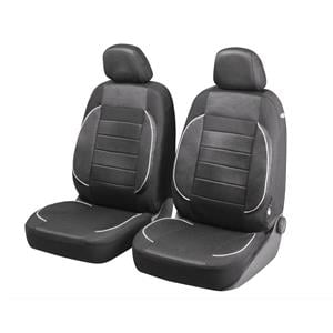 Seat Covers, Walser Premium Zipp-It Rover Front Car Seat Covers - Black & White for Peugeot 207 Saloon 2007 Onwards, Walser