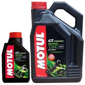 Engine Oils and Lubricants, MOTUL Motorbike Engine Oil 5000 10W40 4T 4+1L, MOTUL